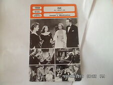 CARTE FICHE CINEMA 1950 EVE Bette Davis Anne Baxter George Sanders Celeste Holm