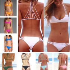 Le donne Spaghetti Bikini Set benda Costumi da bagno imbottito reggiseno costume da bagno spiaggia