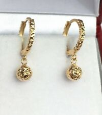 18k Solid Yellow Gold Kid Cute Ball Dangle Hoop Earrings, Diamond Cut 1.15 Grams