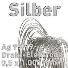 Silberdraht Ag 99,99% Draht-Anode ⌀0,5 mm x 1000 mm Feinsilber Elektrode 100cm