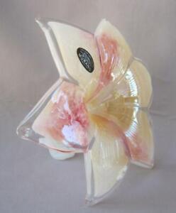 """Large 8"""" Genuine Italian Art Blown Glass Flower Beige Salmon Italy Murano No 600"""