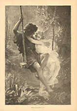 Romance, Spring Love, Nude, Swinging, Vintage, 1872 Original, Antique Art Print