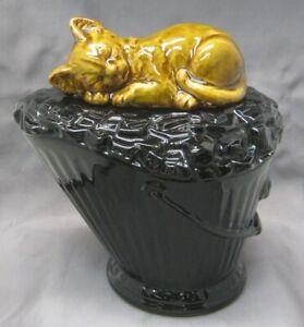 Rare Vintage McCoy Kitten on Coal Bucket Mold # 219 Cookie Jar