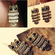 1 Pair Vintage Women Jewelry Bronze Owl Crystals Rhinestone Hook Dangle Earrings
