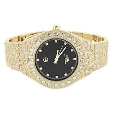 Unisex Wrist Watch Gold Finish Black Dial Simulated Diamonds Fully Iced Out New