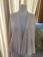Anthropologie Moth Cream Eyelet Open Cardigan Sweater XS Excellent