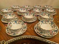 Royal Cauldon Victorian Floral Set 12 Soup Boullion Bowls 12 Plates 1930/1950