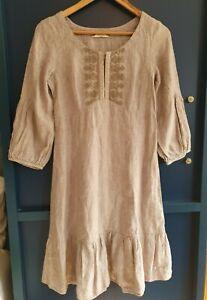 Noa Noa Dress 100% Linen with Broidery in Sepia Grey, size 6 - 8 Folk Gypsy