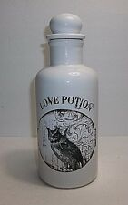 """Vintage Ceramic LOVE POTION Bottle Halloween Prop White With OWL 8.25"""""""
