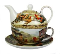 Cockerel and Hen Fine China Afternoon Tea For One Set Teapot Cup Saucer NEW