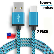 2PCS Braided Nylon Type C Micro USB Charger Cable Data Sync For Samsung Android