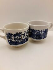 2 Vintage England Made Stackable Teacups, Classic Blue Willow Design
