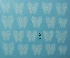 Accessoire ongles: nail art -Stickers autocollants, motifs papillons blancs