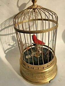 Antique German Karl Griesbaum Cardinal Bird Cage Automaton Music Box~Sings Great