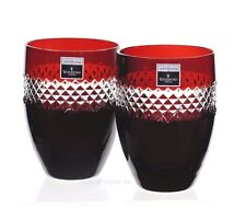 2 Waterford John Rocha Ruby Red Cut to Clear Cased Crystal DOF Whiskey Glass New