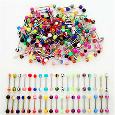 30PC Fashion Stainless Steel Ball Tongue Bars Rings Barbell Chic Body Piercing