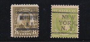 US Precancels Two Different $7.50 New York Types CV $15.00