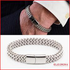bracciale uomo acciaio chiusura calamita inox braccialetto maglia intrecciato da