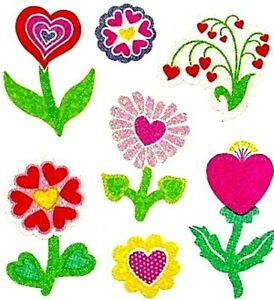 **RARE**   GLITTERY HEART FLOWERS Sandylion Stickers - 2 squares NOT IN PRINT