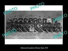 Old 6 X 4 Historic Photo Of The Montreal Canadiens Ice Hockey Team 1939