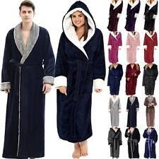 Unisex Winter Long Bathrobe Bath Robe Men Women Fluffy Hoody Comfy Dressing Gown