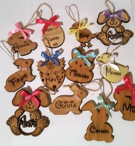 Personalised Easter Tag, Wooden Tag from Easter Bunny with Ribbon