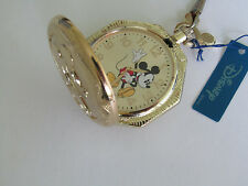 MZ BERGER Classic Disney 'Mickey Mouse Gold Pocet Watch With Gift Box