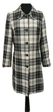 AMARANTO Coat Size 12 Black & Cream Check Plaid Long Fitted Outdoor Evening