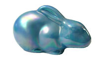 "Mosser Glass Bonnie Blue Carnival Laying 5 1/2"" Bunny"