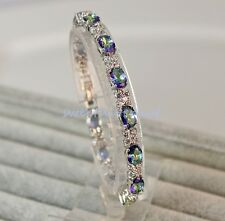 18K White Gold Filled -Blue MYSTICAL Rainbow Oval Topaz Leaf  Cocktail Bracelet