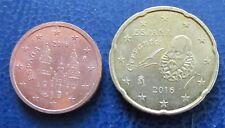 2, 10 und 20 Cent Euro Münze Spanien Prägejahr 2016 aus Umlauf Sammlerstück!