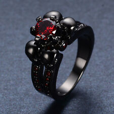 3.78/ct Garnet Ruby Wedding  Skull  Rings Size 6-1010Kt Black Gold Filled Goth