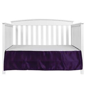 EHP 1 Piece Solid Satin Crib Skirt Dust Ruffle, Nursery Crib Toddler Bed Skirt