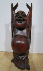 """Vintage carved unknown dark wood  8"""" standing with arm raised Happy Buddha - VGC"""