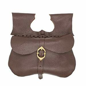 Mythrojan Leather Medieval Pirate Hip Pouch Larp Cosplay Coin Purse Bag - Brown