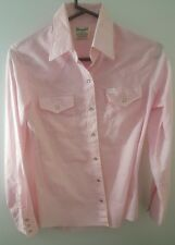 Vintage Usa Wrangler Western Cowgirl Womens Long Sleeve Pink Pearl Button Down