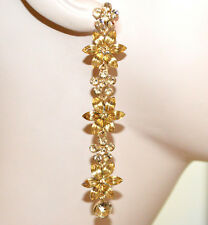 ORECCHINI cristalli oro ambra donna pendenti lunghi amber gold earrings G55