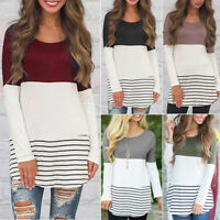 Women's Long Sleeve Pullover Hoodie Casual Stripe T-Shirt Sweatshirt Tops Blouse