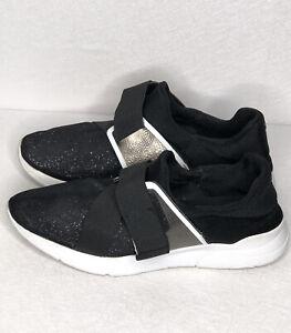 Guess Women's Valleri Black Glitter  Sneaker Tennis Shoes Hook Loop Closure 7.5