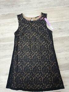 Marks & Spencer's Limited Collection Black Lace/Brown Lined sleeveless Dress 14