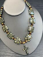 Pendant Necklace  Bohemian Vtg Vintage Giraffe Pattern Cross Pendant Wood Beaded