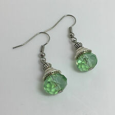 SMALL FACETED APPLE GREEN GLASS CRYSTAL DROP EARRINGS FLUTED BEAD DK SILVER PL