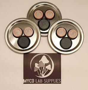 x3 Mycology/mushroom Growing Mason Jar Lid, Syringe Filter+Self Heal Injector