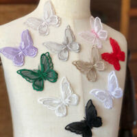 Bene Omnia 10 pcs Butterfly Lace Applique Embroidery Motif Patch for Bridal Wedding Dress DIY Craft Projects Pale Blue