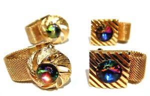 VINTAGE RAINBOW VITRAIL CUFF LINKS mesh wrap gold tone crystal pair lot B6