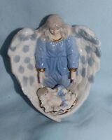 Angel figurine ceramic  Baby Jesus blue and white gold trim nativity cradle