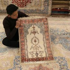 Yilong 2'x3' Vase Flowers Handmade Classic Top Carpet Hand Knotted Silk Rug 415M