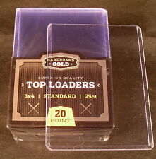 25 Quality Cardboard Gold 3x4 plastic TOP-LOADER card holders & penny sleeves
