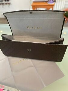 Gucci Glasses Foldable Case Brown Leather With Cloth (medium)