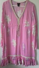 Moda International Dress SZ L Pink Floral Rayon